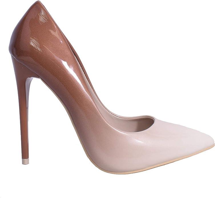 Stiletto AW18 Zapatos de tacón Alto para Mujer, con Efecto Degradado de Color, Color Dorado, Gris, Leopardo, Negro, Piel y Rojo, Talla única