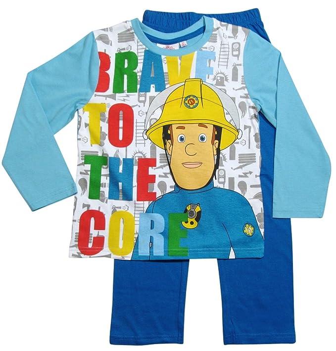 38d5f5e2cc Feuerwehrmann Sam Jungen Pyjama Schlafanzug - blau (104 - 110, Weiß-Blau)
