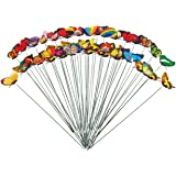50-Pack Butterfly Stakes – Butterfly Garden Decor, Decorative Outdoor Garden Stakes for Garden Planters and Flower Pots, Assorted Multicolored Designs, 11.81 x 2.76 Inches