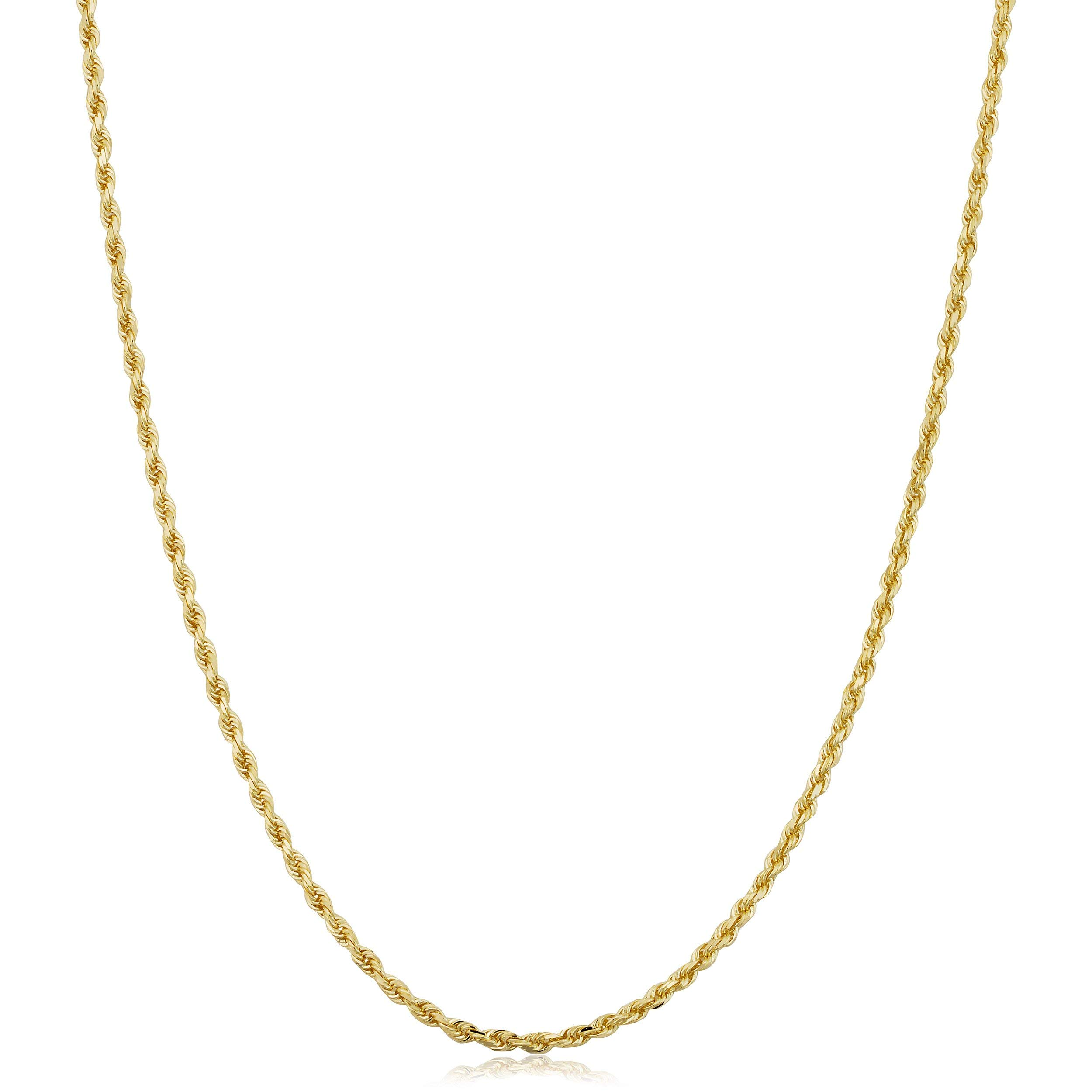 Becca Code 14k Yellow Gold 1.5MM Hollow Rope Chain Necklace 22''