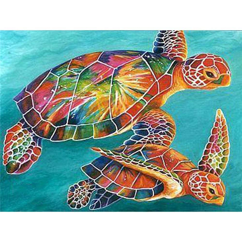 DIY Oil Painting, Paint by Number Kits -Colored Turtle, 16X20 Inch by MOJIU
