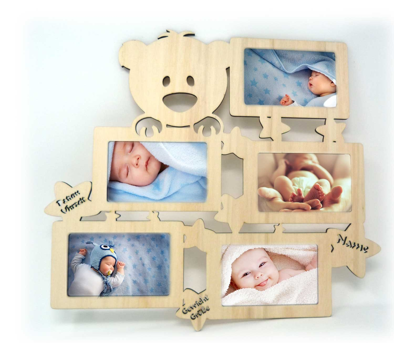 Wand Bilderrahmen Teddy Collage mit Namen und Geburtsdaten zur ...