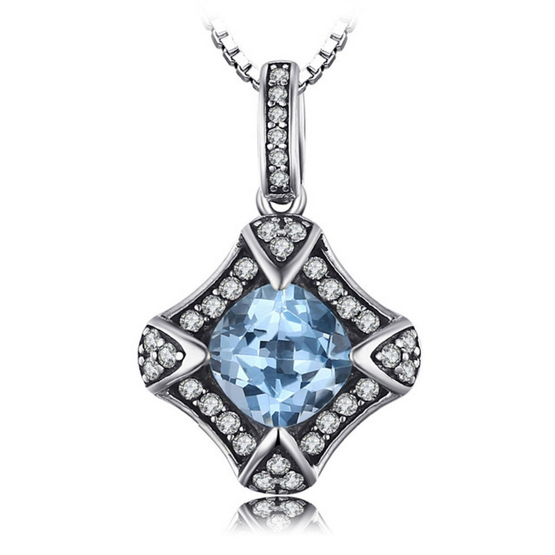 CS-DB Pendants Vintage 2.2 ct Sky Blue Topaz Jewelry Silver Necklaces