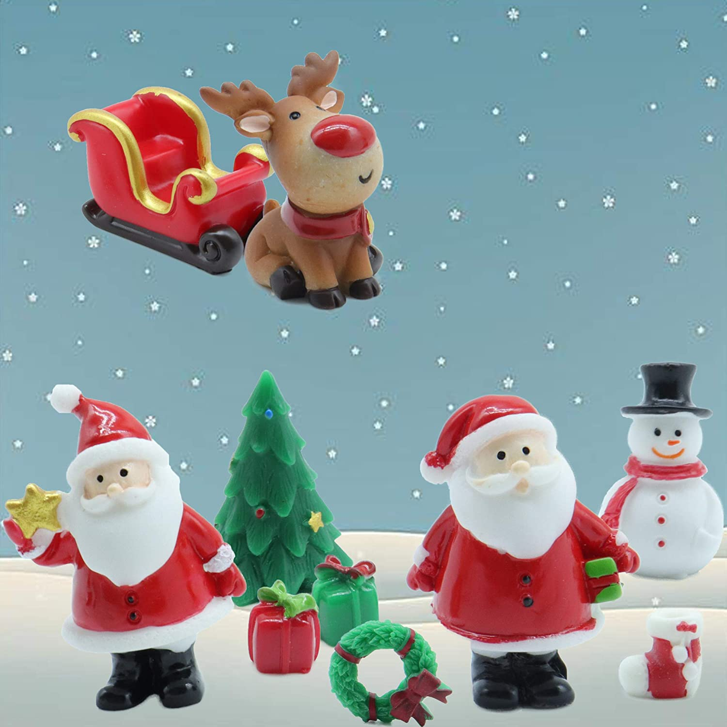 DIY Miniature Garden Decorations,Santa Claus Snowman Christmas Tree Seated elk Reindeer Miniature Fairy Garden Accessories Sock Christmas Wreath Present Fairy Garden Kit-10pcs Seated Christmas 2