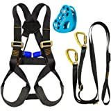 Fusion Climb Kids Backyard Zip Line Kit Harness Lanyard Trolley Bundle FK-K-HLT-02