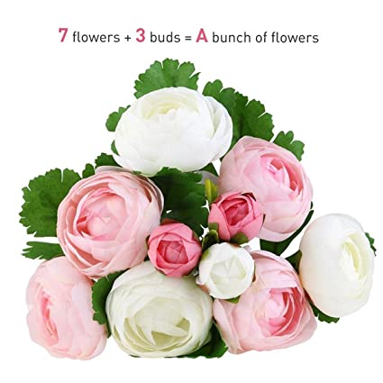 Amazon Nutsima 10 Heads Artificial Flower Pink And White Silk
