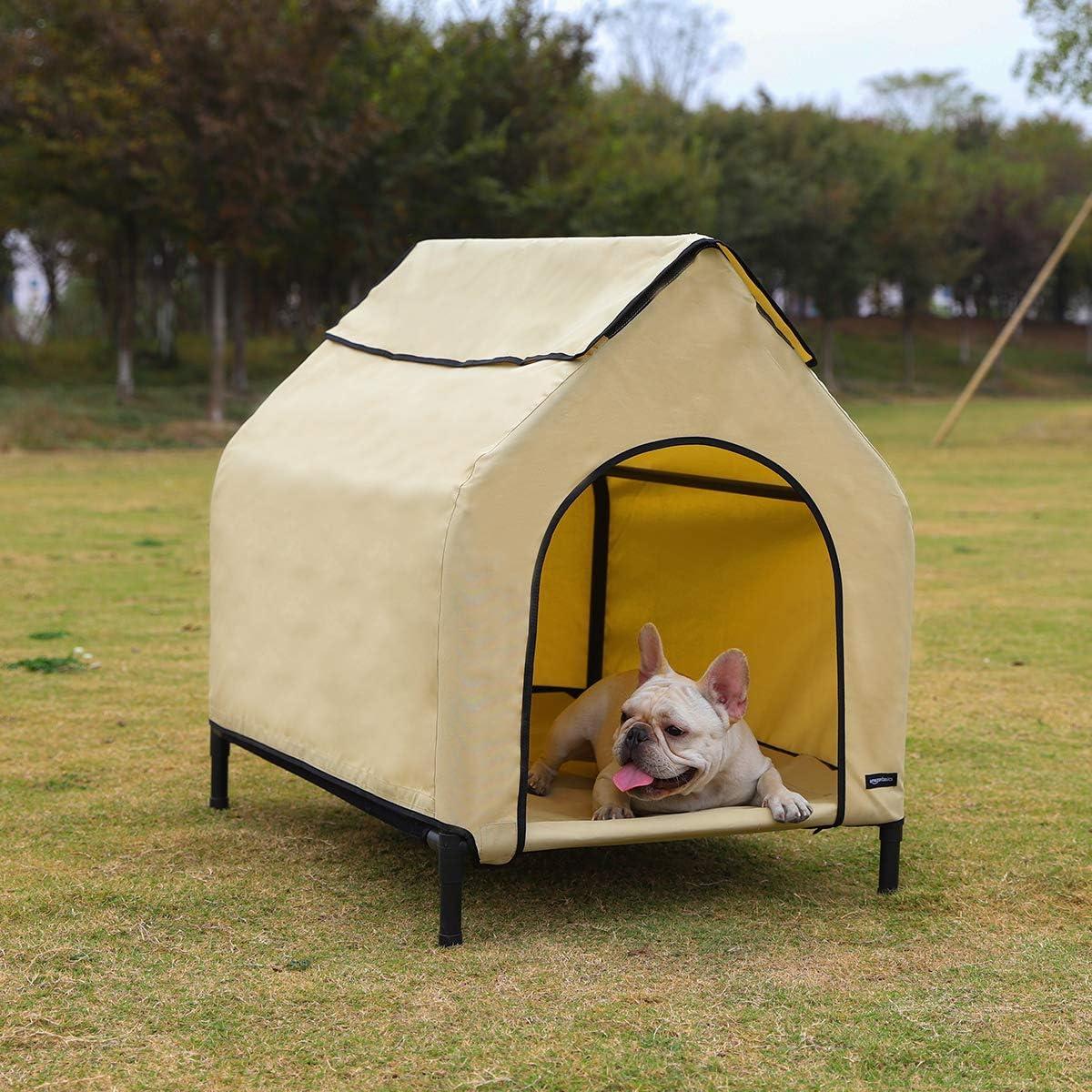 AmazonBasics - Caseta para mascotas, elevada, portátil, pequeña, caqui