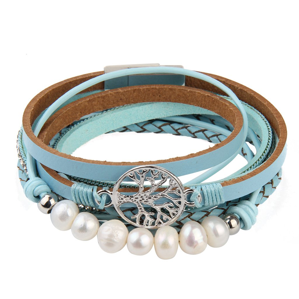 Jenia Tree of life Leather Bracelet Rope Wrap Pearl Cuff Wristband for Women with Gift Bags by Jenia (Image #2)