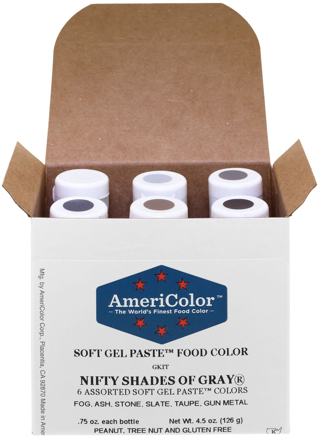 AmeriColor Food Coloring, Nifty Shades Of Gray Kit by AmeriColor