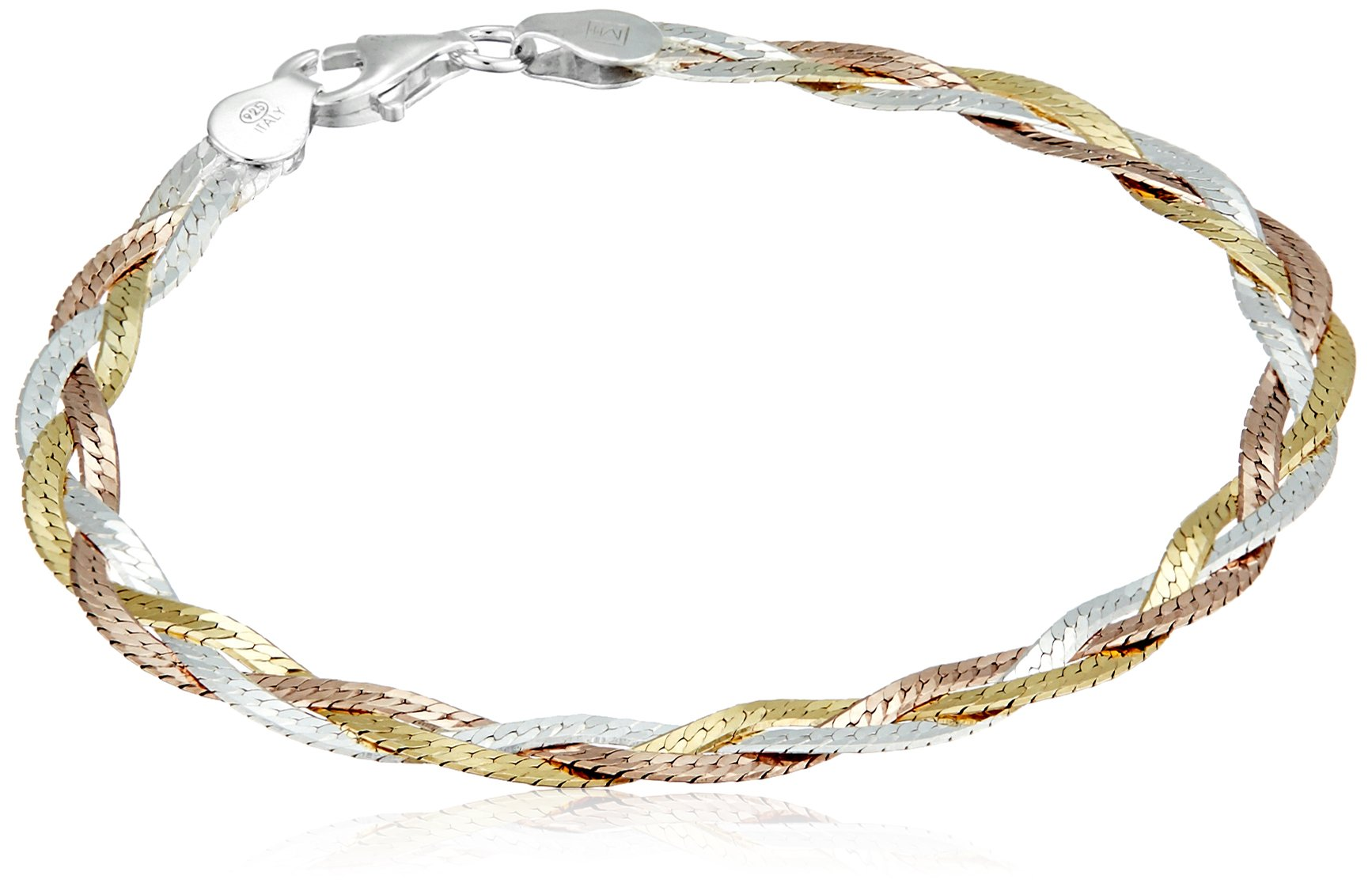 Sterling Silver Italian Tri-Color Three-Strand Braided Herringbone Chain Bracelet, 7.5''