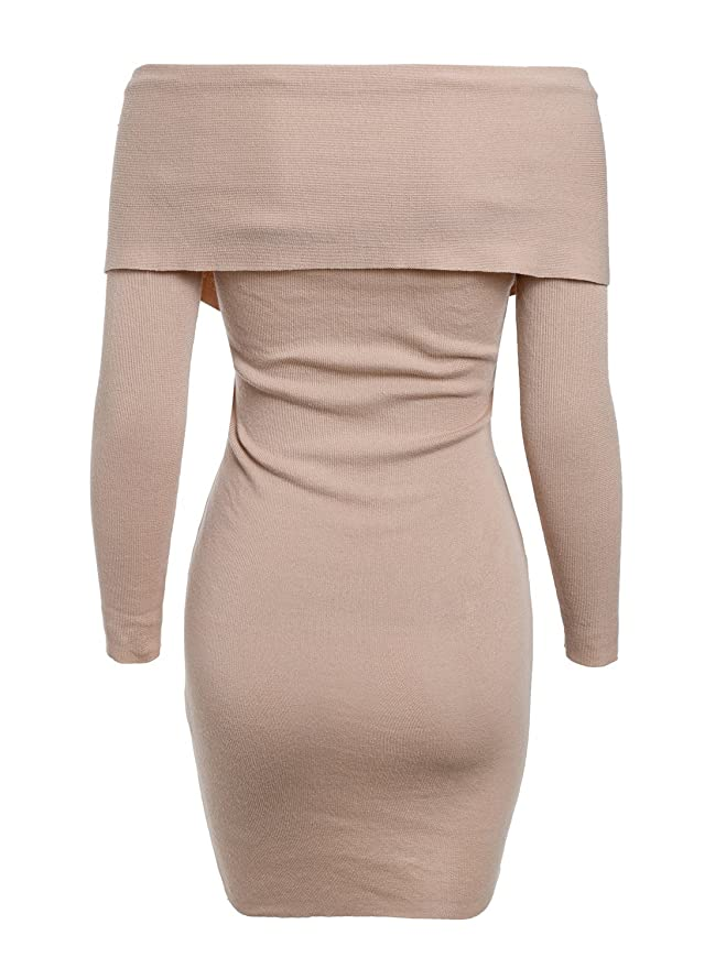 55bf02f90e402d Amazon.com: BerryGo Women's Sexy Off Shoulder Wrap V Neck Long Sleeve  Bodycon Sweater Mini Dress: Clothing