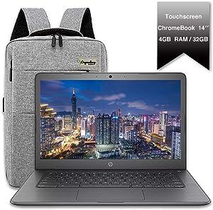 "2020 HP 14"" Lightweight Chromebook, Intel Celeron N3350 Dual Core Processor, 4GB RAM, 32GB eMMC Storage, Webcam, WiFi, Chrome OS (Google Classroom or Zoom Compatible)/Legendary Accessories"