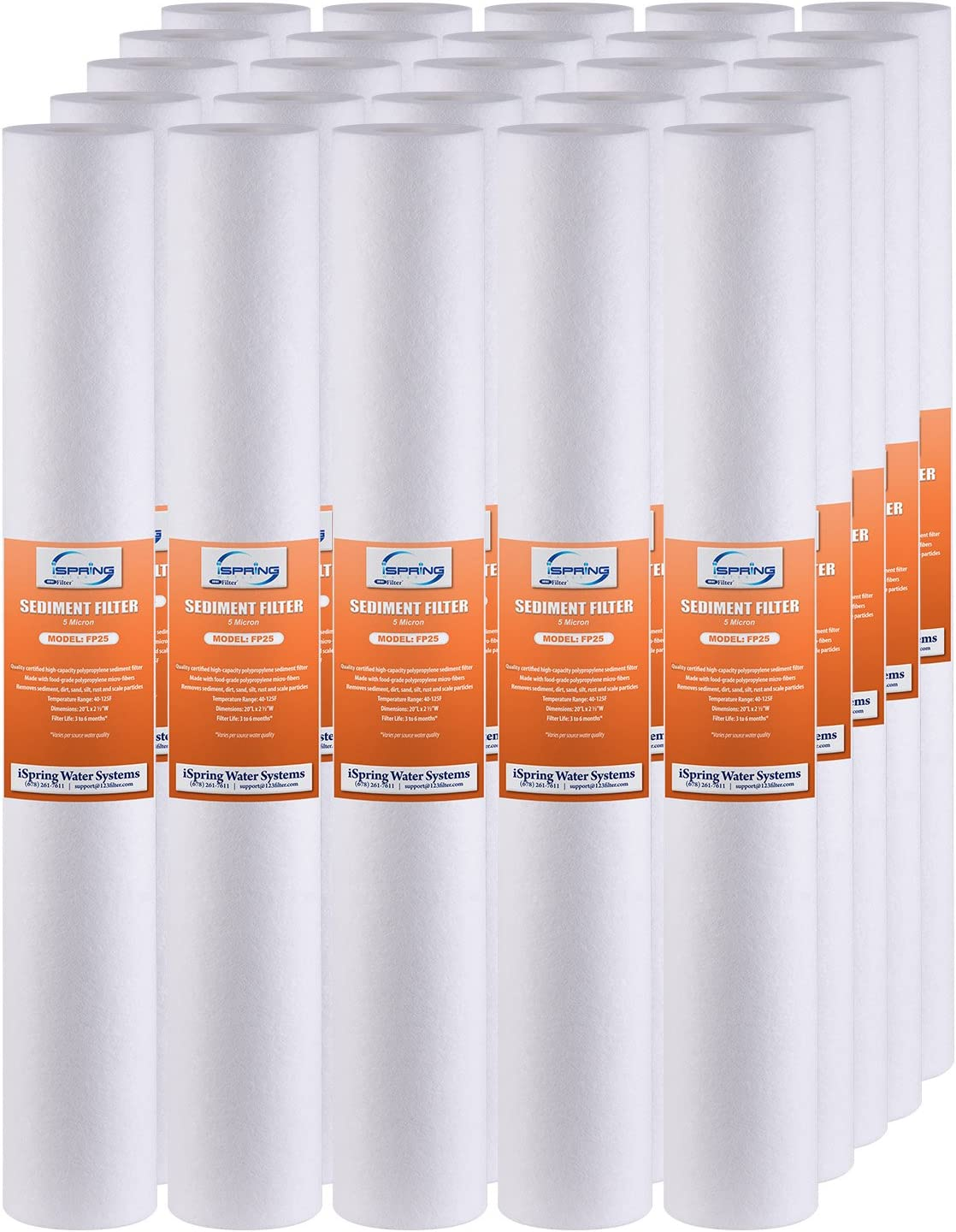 """25 Pack 20/"""" x 2.5/"""" 5 Micron Sediment Water Filter Industrial Household Purified"""