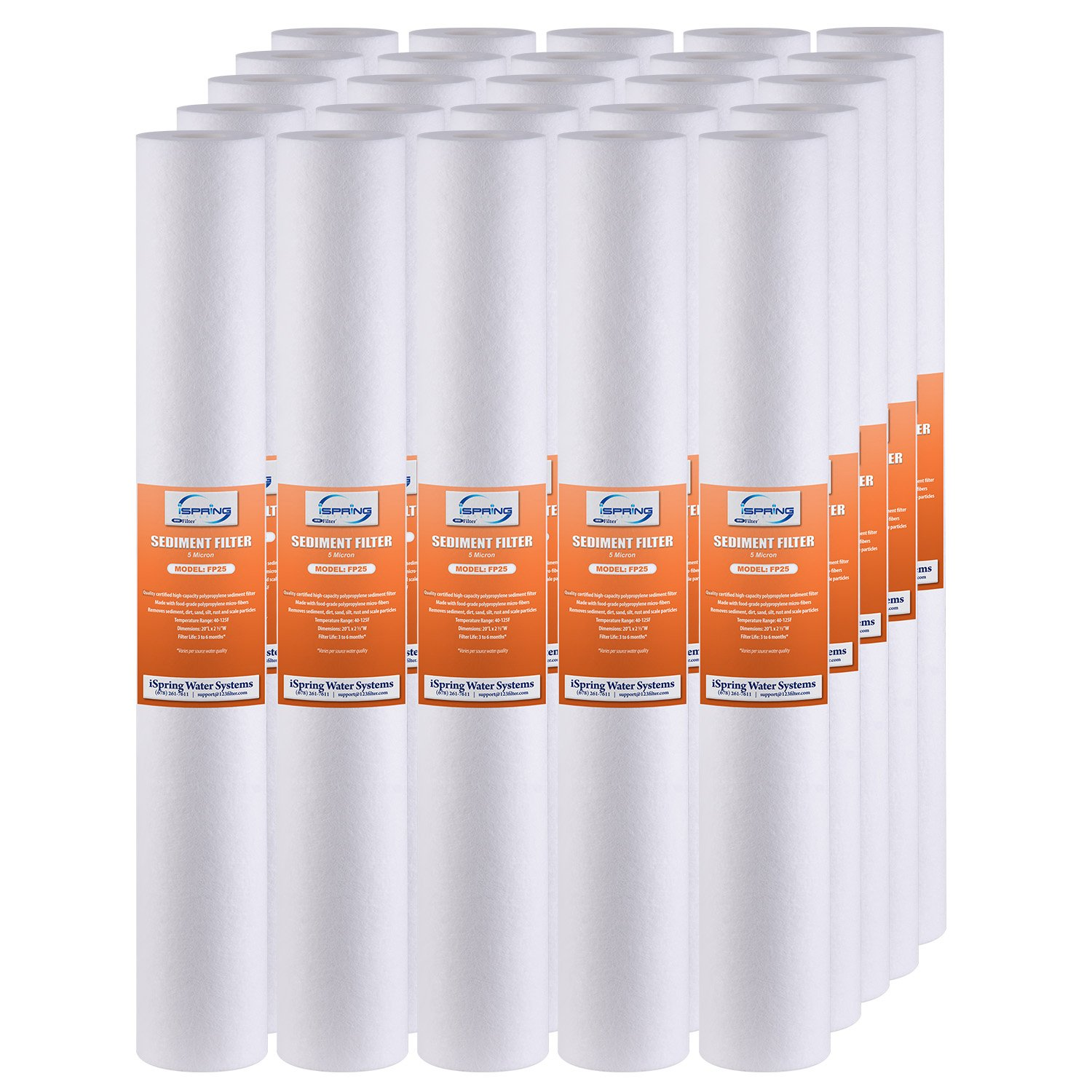 """iSpring FP25X25-5 Micron 20"""" X 2.5"""" Sediment Filter Cartridges, Pack of 25"""