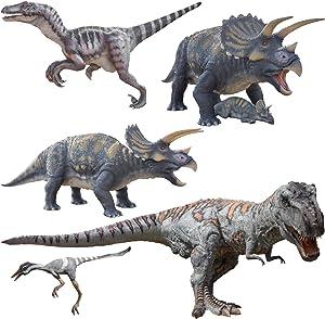 3D Dinosaur Wall Decals Set 5in1-Jurassic World Bedroom Decorations Dinosaur Decals for Wall-Indominus Rex Trex Velociraptor Stickers for Boys Room Nursery Decor Decal-SET1