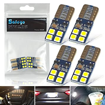 Safego 4x W5W T10 194 168 192 158 Bombillas LED 8SMD 3030 Luz de la Placa del Auto Luz Interior Coches Motos 12V Blanco 6000K: Amazon.es: Coche y moto