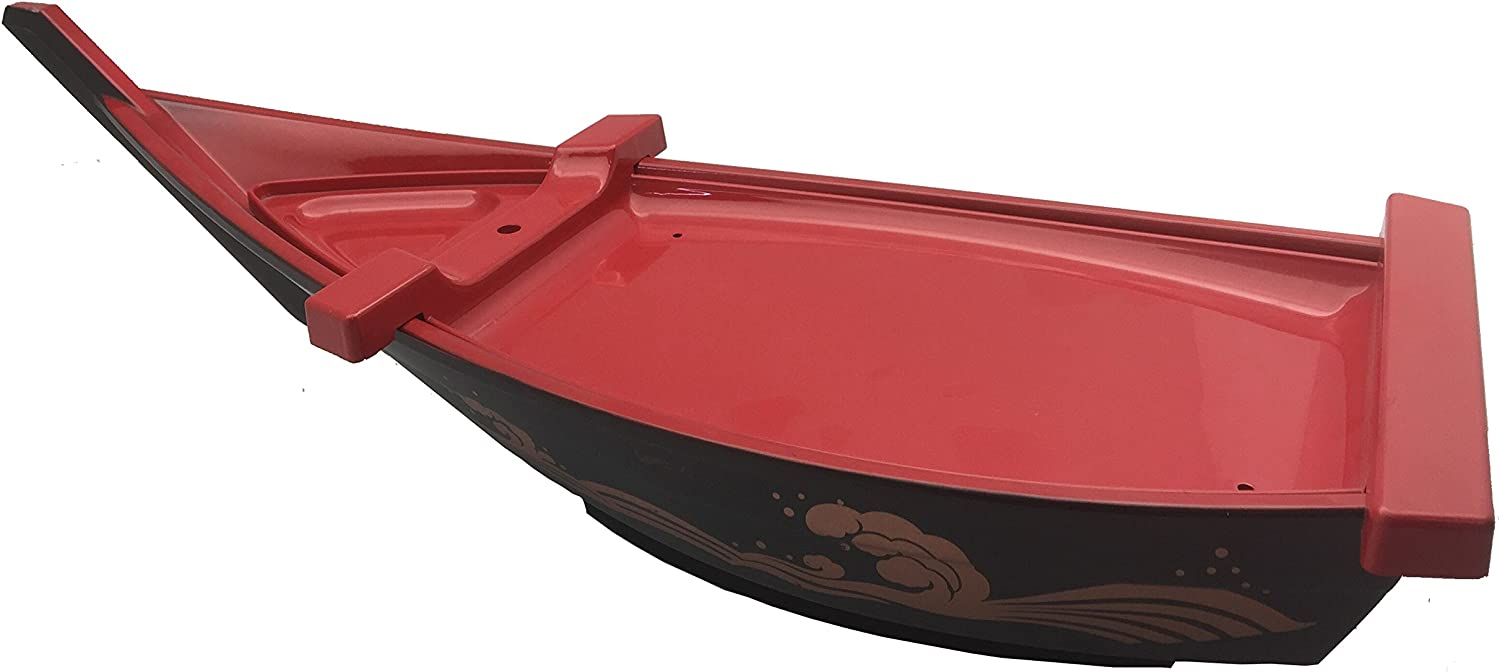 JapanBargain 4077, Sushi Boat Sushi Serving Tray Sashimi Plate Plastic Lacquered Black and Red Color, 21 inch