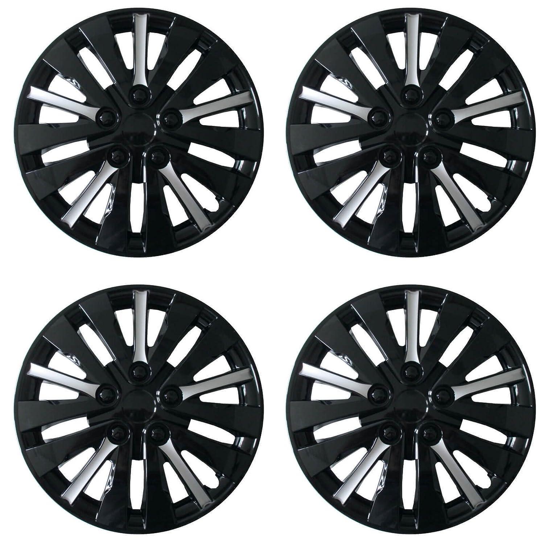 Original Dublin Black Silver Bicolor Flower 16 Inch (40.64 cm) Set of 4 Set Wheel Inch Hubcaps/Wheel Trims Cover * Hub Caps Wheel Trims * Set Rim Hubcap ...