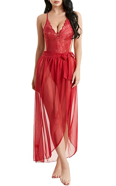 b6df7f9291 Itisovo Women Plus Size Lace Teddy and Matching Sheer Wraparound Skirt  (Maroon, Small)