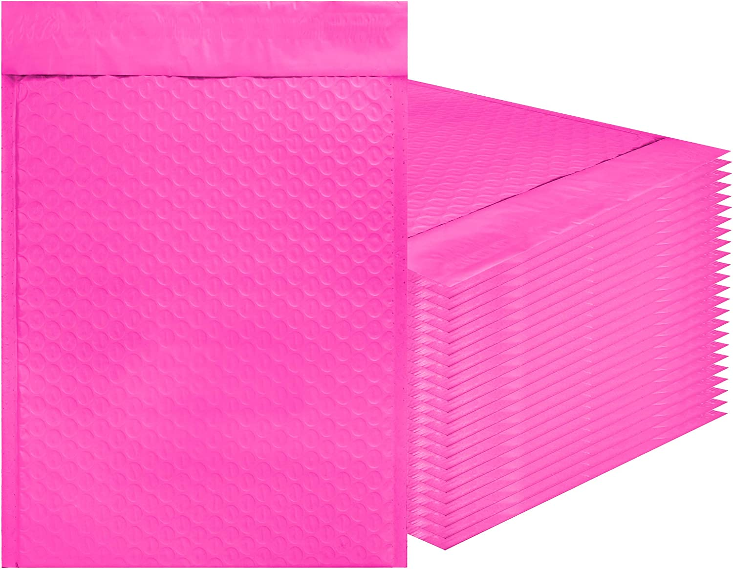 Amiff Pink Poly Bubble mailers 10.5 x 15 Padded envelopes 10 1/2 x 15. Pack of 10 Poly Cushion envelopes. Exterior Size 11.5 x 15 (11 1/2 x 15). Peel and Seal. Mailing, Shipping, Packing, Packaging.