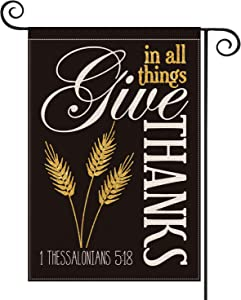 AVOIN Thanksgiving Wheat Ears Garden Flag Vertical Double Sized,Fall Autumn Give Thanks in All Things Harvest Yard Outdoor Decoration 12.5 x 18 Inch
