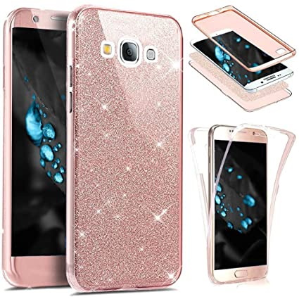 Etsue Funda Galaxy J7 2016 360 Grados Integral Ambas Caras Carcasa,Galaxy J7 2016 Transparente Funda Caso 360 Full Body Protección Cover Bling Glitter ...