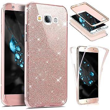 Funda Samung Galaxy J5 2016 360 Grados Integral Ambas Carcasa,ETSUE Funda 360 Full Body Completa Cas + Glitter Brillante Paillettes 3 en 1 Funda Ultra ...