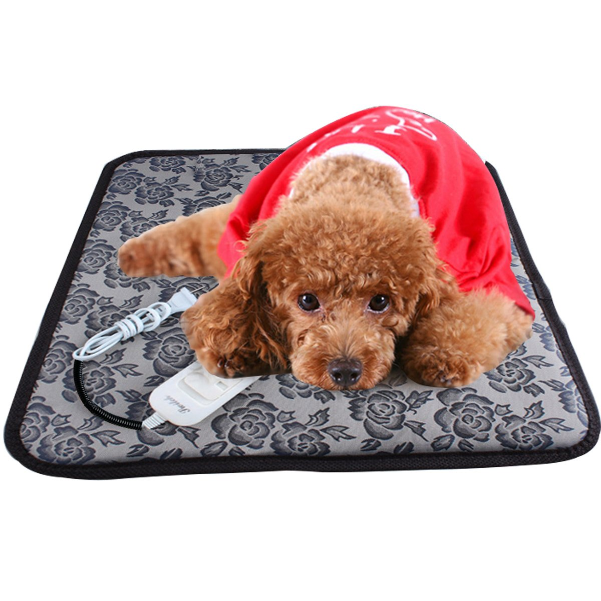 Aopet Dog Heating Pad Pet Electric Blanket Heater Mat Cat Warming Waterproof Heated Beds with Chew Resistant Cord Overheat Protection Warmer Grey 17.7''x17.7''