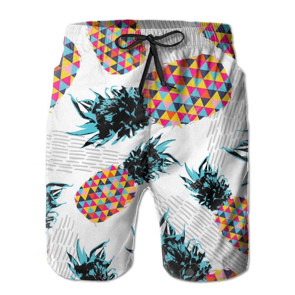 Qpkia Pineapple Fruit Happy Vibrant Colors Men Quick Dry Beach Board Shorts Pants Pocket