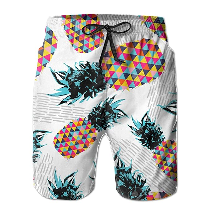 Qpkia Pineapple Fruit Happy Vibrant Colors Men Quick Dry Beach Board Shorts Pants Pocket