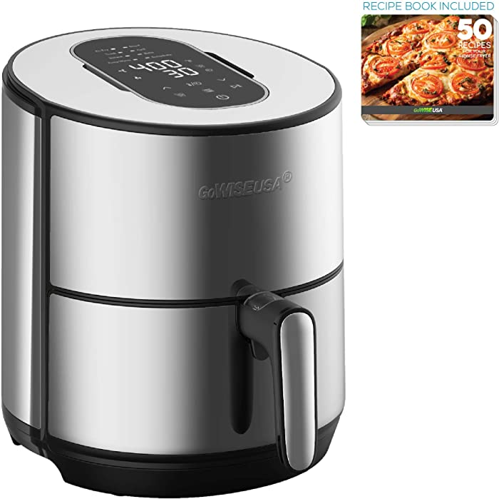 GoWISE USA 4.6-Quart Electric Air Fryer Dehydrator with 50 Recipes, GW77726, Stainless Steel