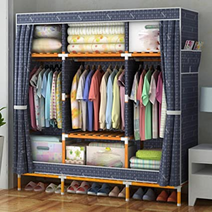 LyMei Wardrobe Storage Organizer Moisture Proof Solid Wood Cloth Wardrobe  Oxford Cloth Closet Organizer Storage
