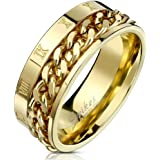 Blue Palm Jewelry - Rings Roman Numeral Spinner Chain Gold IP Stainless Steel Ring R693 (11)