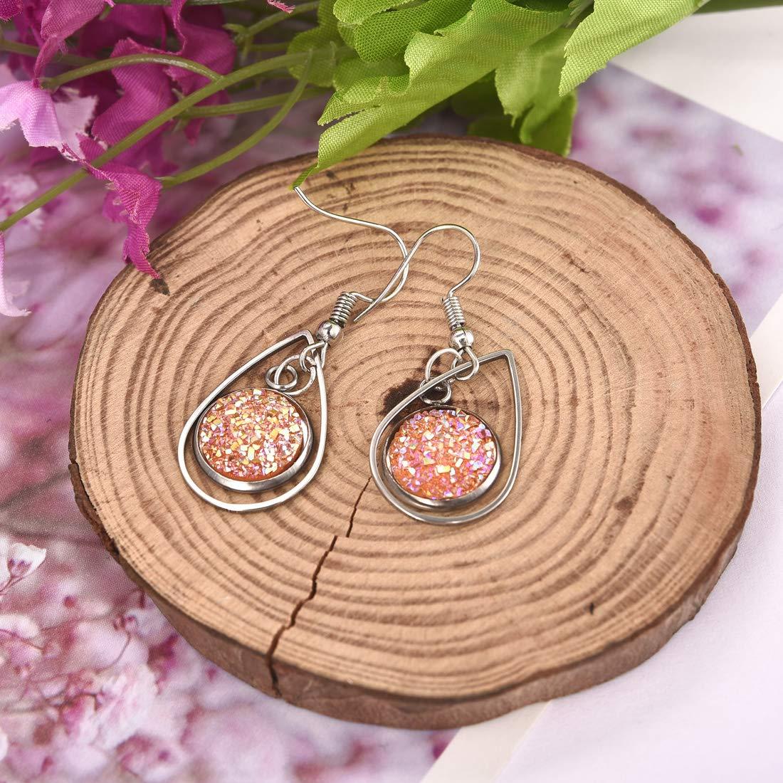 LANBEIDE Earring Blanks Wire Hooks Bezel Trays for 12mm Cabochon Settings Mixed 28 PCS Stainless Steel Earring Dangle for Jewelry Findings