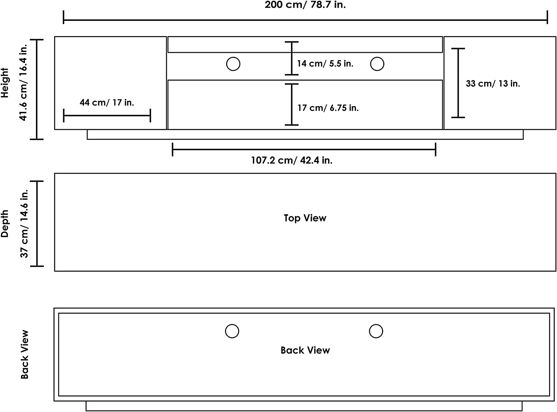 LOFT Samso TV Stand Media Storage Unit for TV/'s up to 75 inches Gloss White 200cm