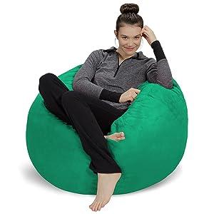 Sofa Sack - Plush, Ultra Soft Bean Bag Chair - Memory Foam Bean Bag Chair with Microsuede Cover - Stuffed Foam Filled Furniture and Accessories for Dorm Room - Aqua Marine 3'