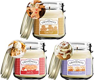 Gingerbread, Apple Pie and Cinnamon Roll Scented Candles for Home Gift Set | Non Toxic Long Lasting Soy Candles | Delicious Scents | 8 oz Mason Jars | Hand Made in The USA