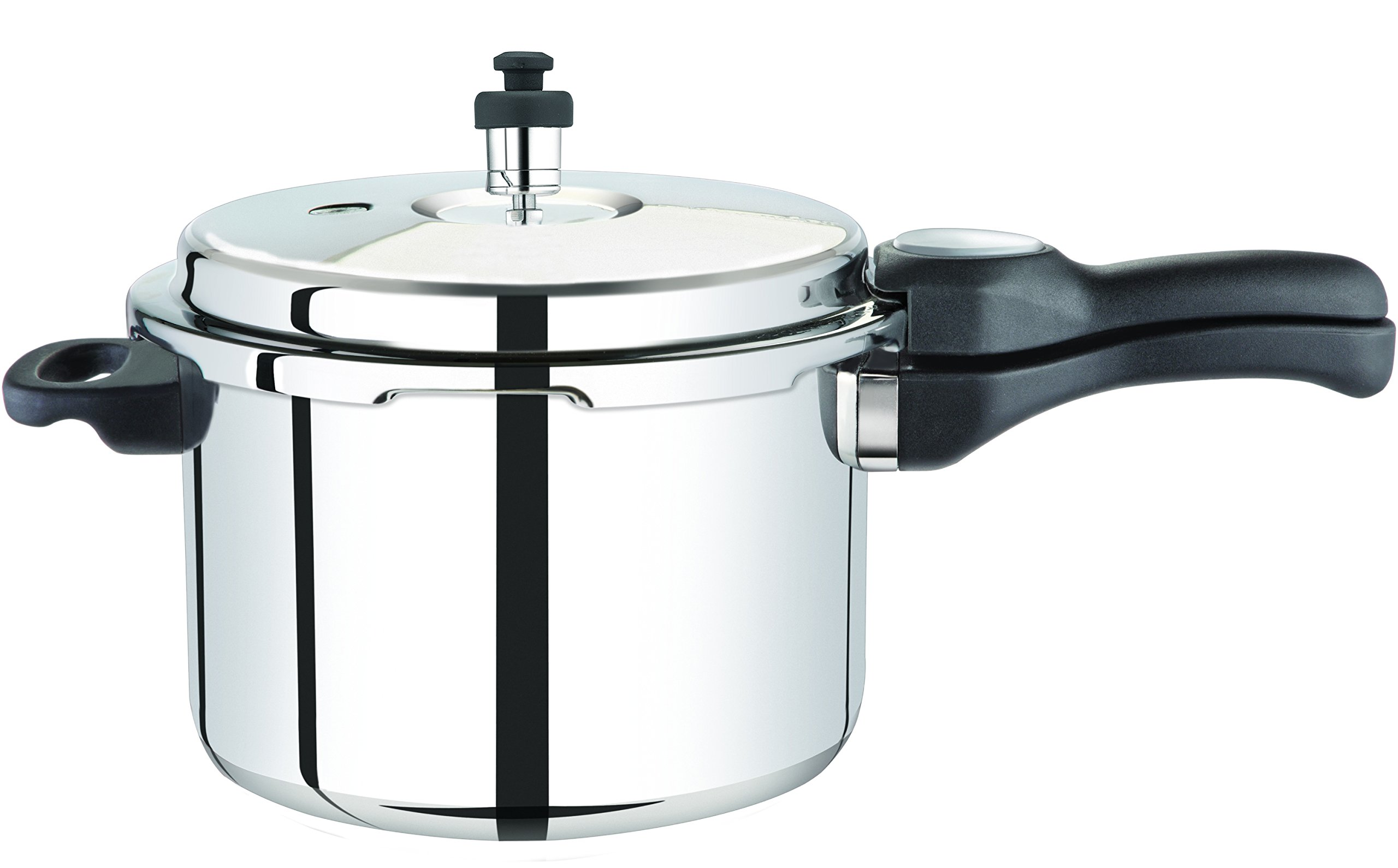 Premier Stainless Steel Pressure Cooker with Aluminum Sandwich Bottom Comfort - Induction Bottom - 5 ltrs. with sep.