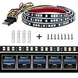 MJIYA LED Truck Tailgate Light Bar Strip, 60 Inch Red Brake Light White Reverse Running Turn Signal Tail Lights for Pickup Tr