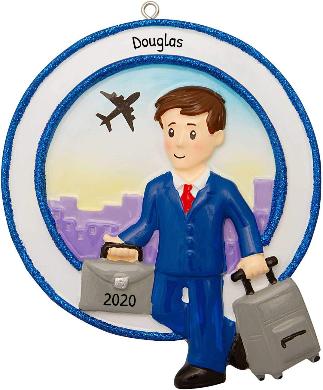 Flight Attendant Male Personalized Christmas Tree Ornament