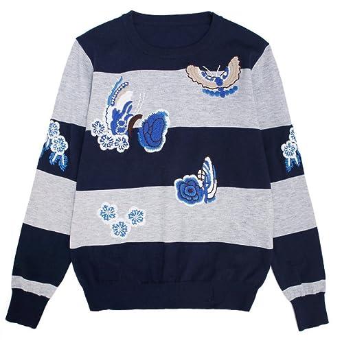 CHLXI Camisa De Punto con El Nuevo Estilo De Flores De Color Azul Bordado Camisa De Cuello Redondo D...