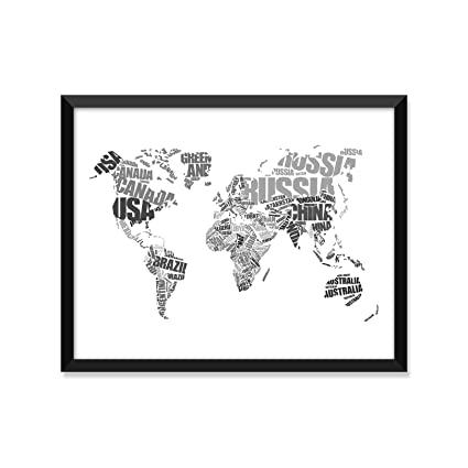 Amazon Com World Map Typography Grayscale Travel Poster