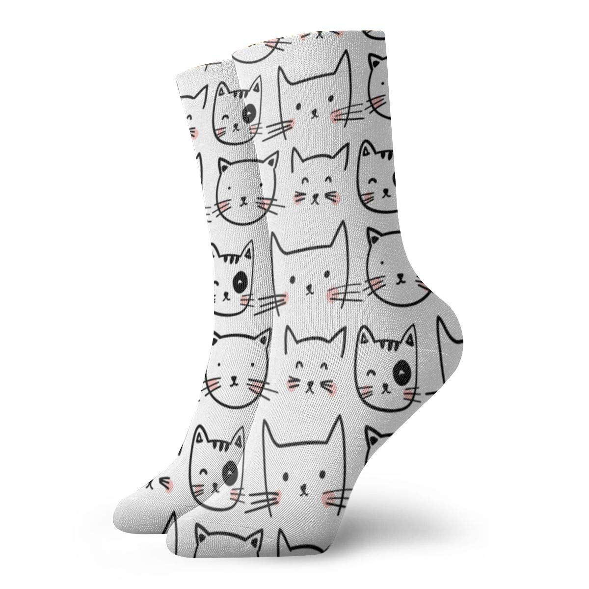 Cat Face Unisex Funny Casual Crew Socks Athletic Socks For Boys Girls Kids Teenagers