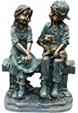 Alpine Girl and Boy Sitting on Bench with Puppy Statue