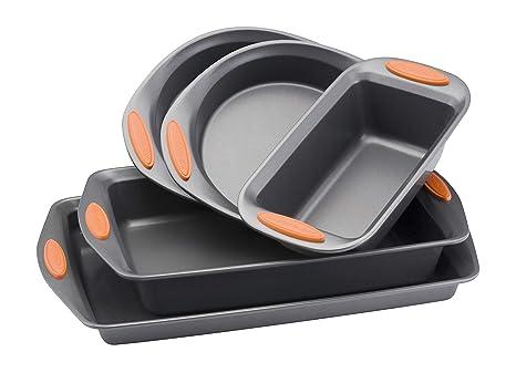 Rachael Ray Yum O Nonstick Bakeware 5 Piece Oven Lovin Bakeware Set Gray With Orange Handles