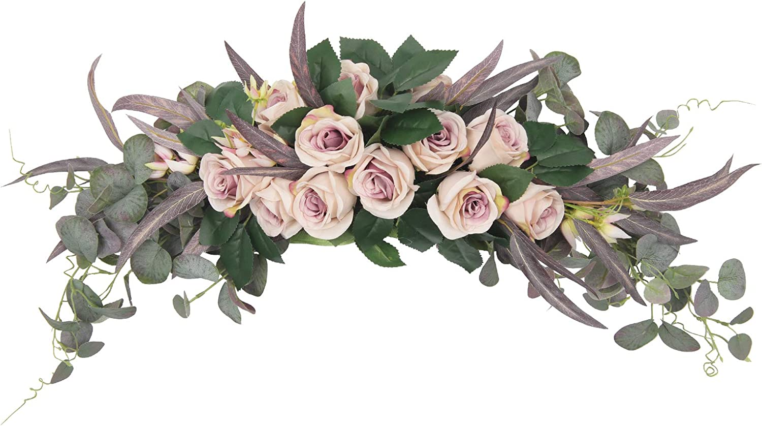 HiiARug Artificial Rose Flower Swag, 31 Inch Decorative Swag with Light Pink Roses Hydrangeas Eucalyptus Leaves for Home Room Garden Lintel Wedding Arch Party Decor (31 inch, Lilac Rose)