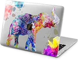 "Cavka Hard Shell Case for Apple MacBook Pro 13"" 2019 15"" 2018 Air 13"" 2020 Retina 2015 Mac 11"" Mac 12"" Pink Protective Pattern Nature Watercolor Design Print Laptop Elephant New Cover Plastic Splash"