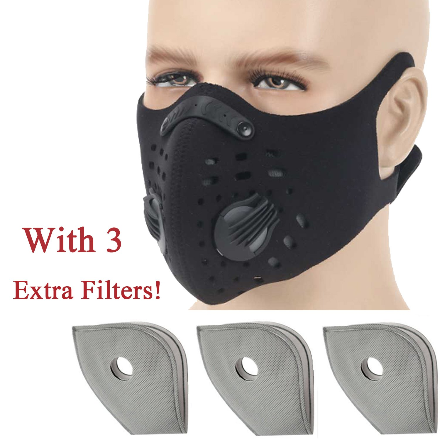 Anqier Dust mask,Activated Carbon Dustproof Mask Exhaust Gas Anti Pollen Allergy PM2.5 Dust Mask Extra Filter Cotton Sheet Cycling, Running,Outdoor Activities