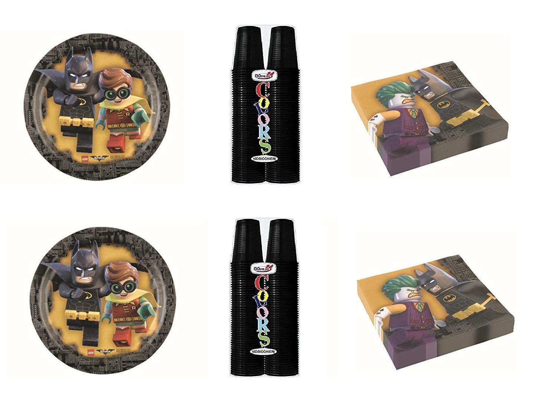 LEGO BATMAN COORDINATO ADDOBBI FESTA - kit n°4 Cdc-(32 PIATTI, 100 Bicchieri di colore Nero, 40 TOVAGLIOLI)