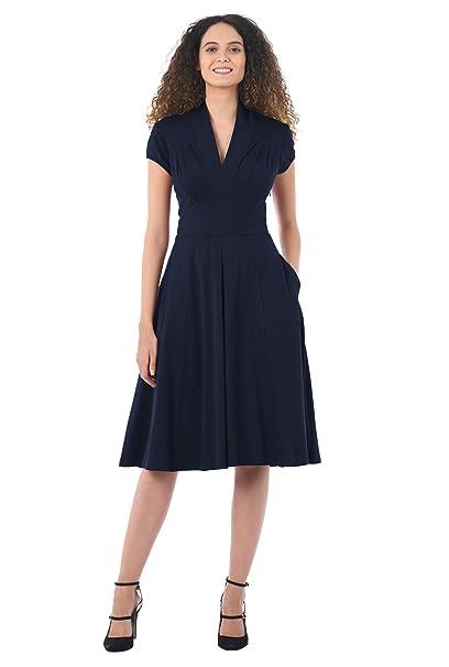 1940s Plus Size Dresses | Swing Dress, Tea Dress eShakti Womens Feminine Pleated Cotton Knit Dress $49.95 AT vintagedancer.com